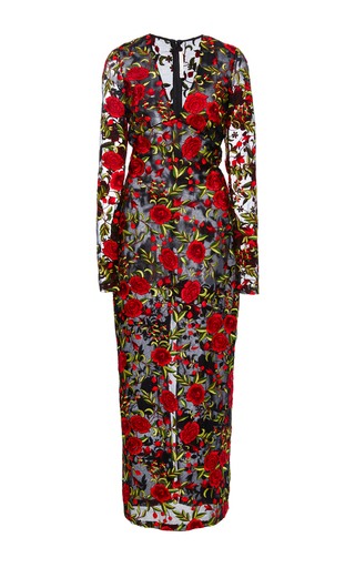 Medium naeem khan floral rose embroidered organza sheath dress