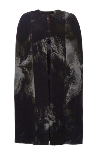 Medium naeem khan black painted rose crepe cape