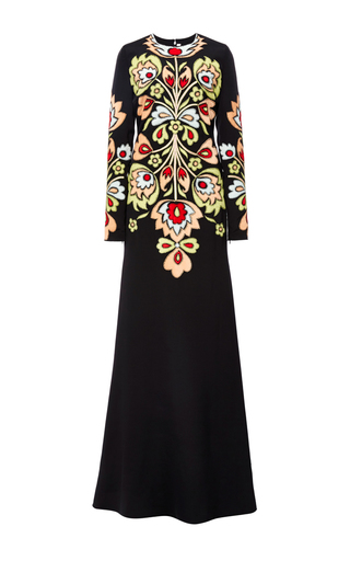 Medium naeem khan black floral ultrasuede column gown