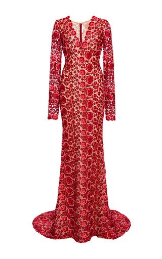 Medium naeem khan red floral lace v neck gown