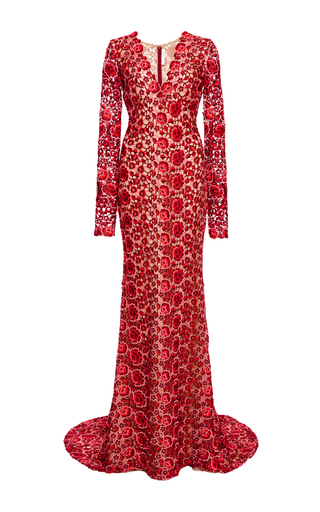 Medium naeem khan red floral lace v neck gown