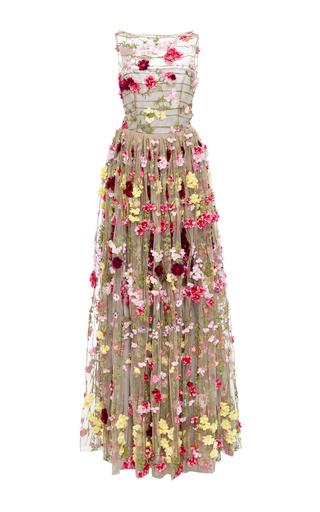 Medium naeem khan light grey floral embellished illusion ball gown