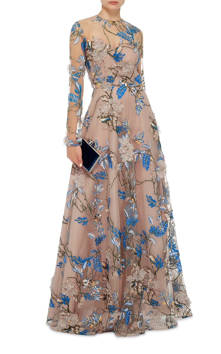 Floral Embellished Long Sleeve Illusion Ball Gown By