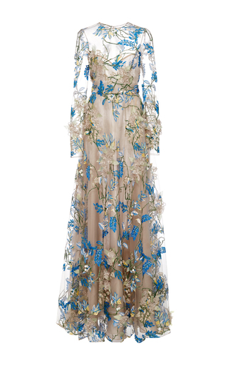 Medium naeem khan multi floral embellished long sleeve illusion ball gown