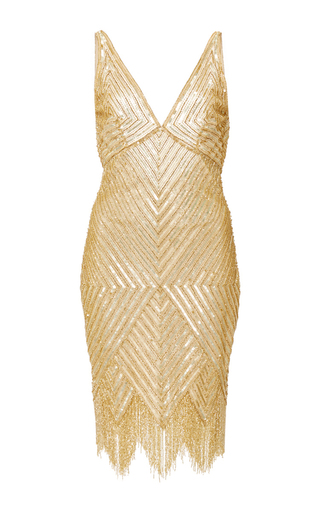 Medium naeem khan gold diamond fringed cocktail dress