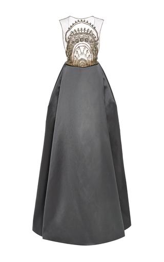 Medium naeem khan dark grey embroidered open back ball gown