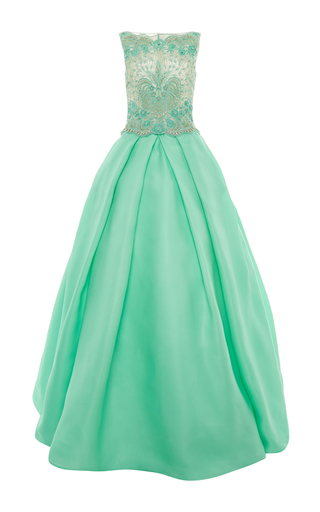 Medium naeem khan green jewel embellished lace ball gown