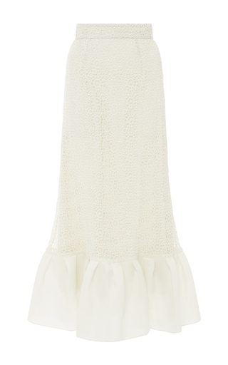 Medium houghton off white crochet lace jules ruffled skirt