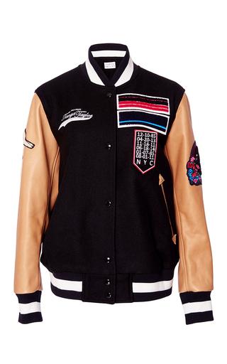 Medium tanya taylor black leather and felt oscar varsity jacket