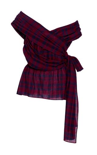 Medium tanya taylor plaid draped plaid phoebe blouse