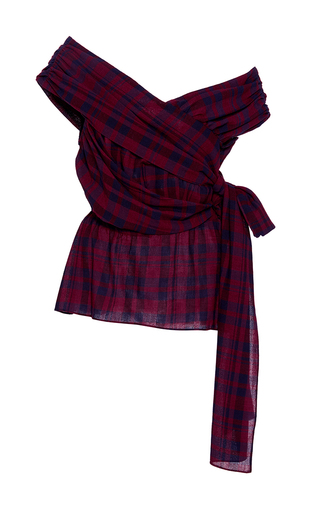 Medium tanya taylor plaid draped plaid phoebe blouse