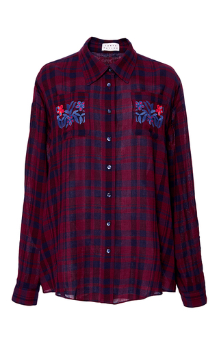 Medium tanya taylor red embroidered plaid romy shirt