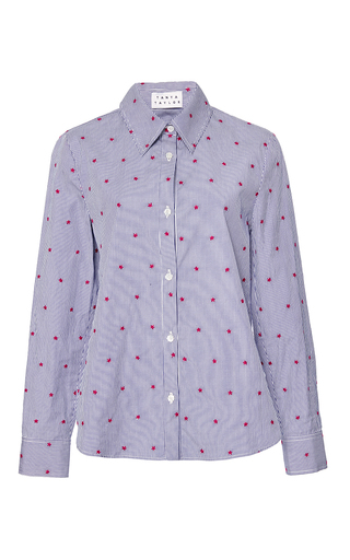 Medium tanya taylor blue embroidered cal pinstripe shirt