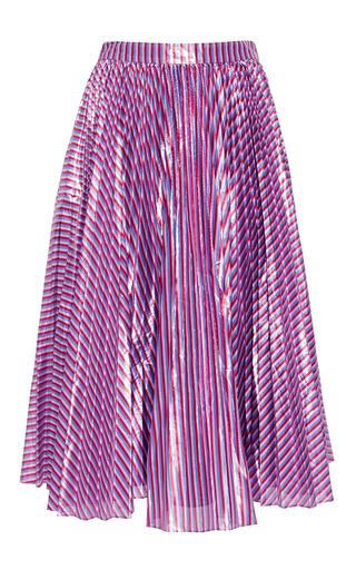 Medium tanya taylor purple lame stripe harley skirt