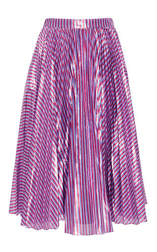 Medium tanya taylor purple lame stripe harley skirt