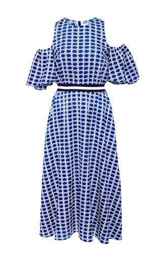 Medium tanya taylor blue checked floral shiloh dress