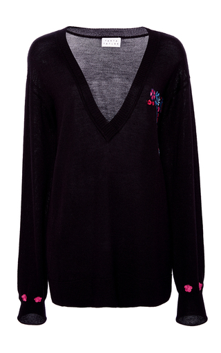 Medium tanya taylor black embroidered silk cashmere lucy sweater