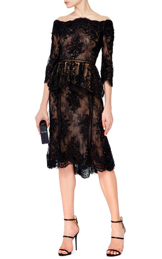 Off The Shoulder Beaded Lace Peplum Top by MARCHESA Now Available on Moda Operandi