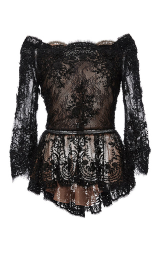 Medium marchesa black off the shoulder beaded lace peplum top