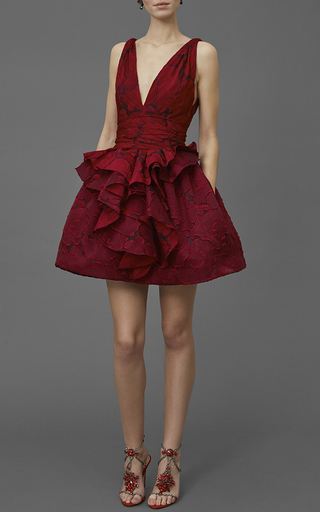 Textured Rose Brocade Dress by MARCHESA Now Available on Moda Operandi