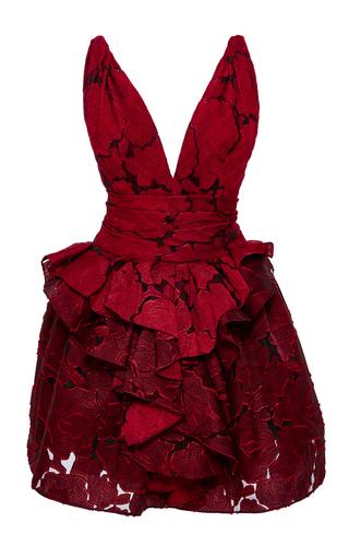 Medium marchesa red textured rose brocade dress