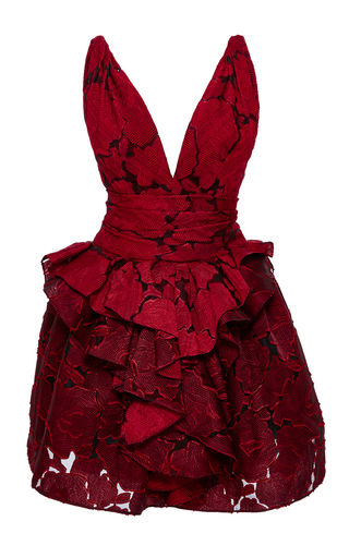 Medium marchesa red textured rose brocade dress