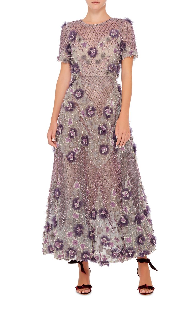 bugle beaded tea length dress by marchesa moda operandi