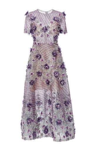 Medium marchesa purple bugle beaded tea length dress