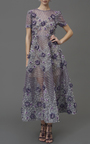 Bugle Beaded Tea Length Dress by MARCHESA Now Available on Moda Operandi