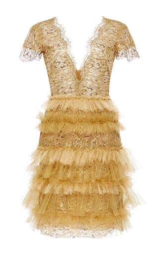 Medium marchesa gold metallic leopard lace ruffle dress