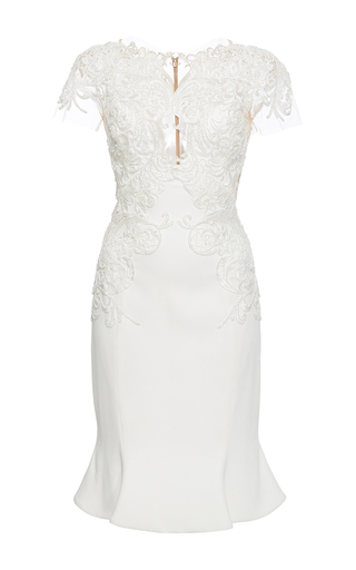 Medium marchesa ivory sheer illusion crepe dress