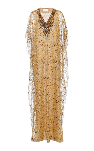 Medium marchesa gold metallic leopard print lace caftan