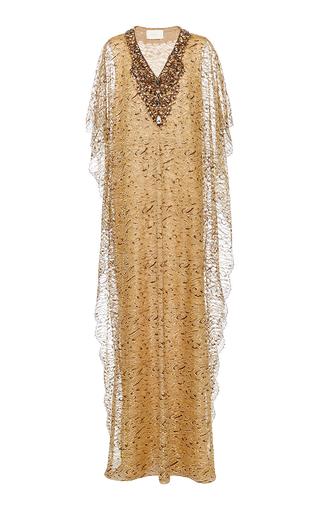 Medium marchesa gold metallic leopard print lace caftan