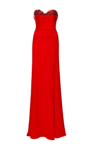 Medium marchesa red strapless silk crepe gown