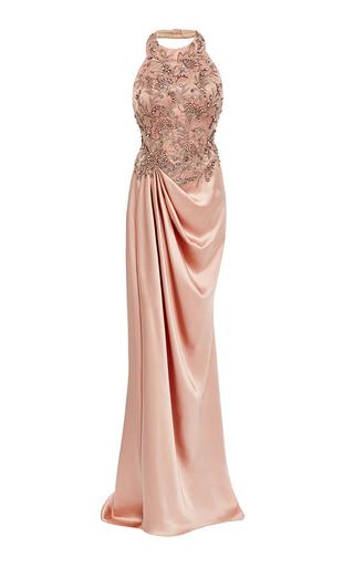 Medium marchesa pink silk satin draped gown