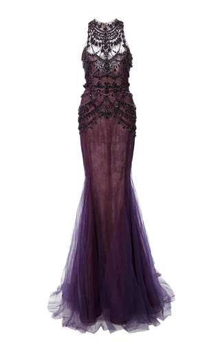 Medium marchesa purple crystal embroidered chantilly lace mermaid gown