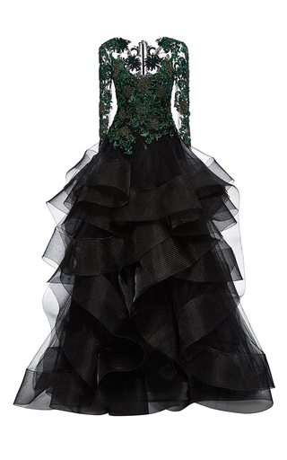Medium marchesa black embroidered cascading tulle ball gown