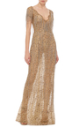Bugle Beaded Fringe Lace Gown by MARCHESA Now Available on Moda Operandi
