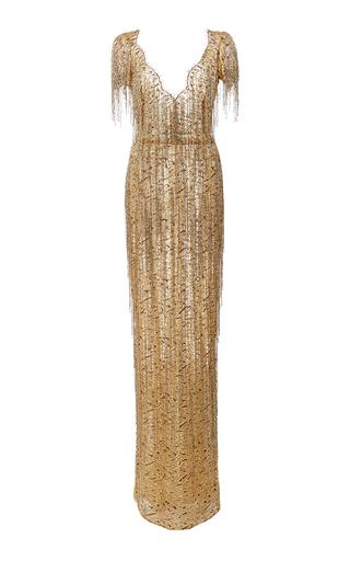 Medium marchesa gold bugle beaded fringe lace gown