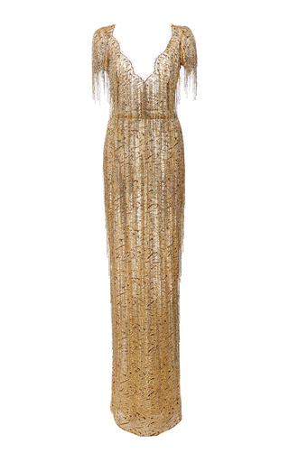 Medium marchesa gold bugle beaded fringe lace gown