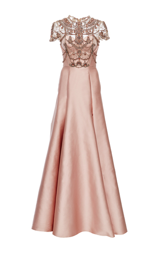 Medium marchesa pink crystal necklace embroidered duchess satin ball gown