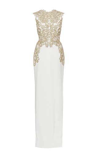 Medium marchesa ivory stretch crepe fitted a line gown