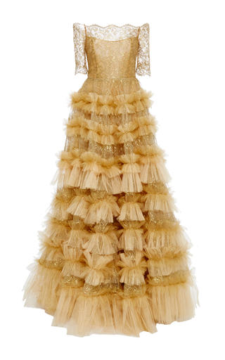 Medium marchesa gold off the shoulder a line gown