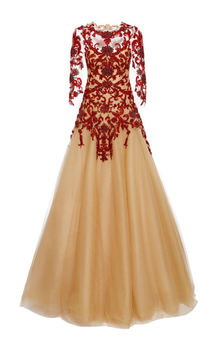 Medium marchesa red crystal and floral beaded ball gown
