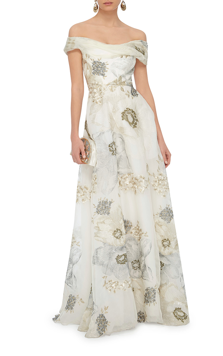 Marchesa long off-shoulder gown Buy Cheap Visit New Discount How Much For Nice Online Cheapest iWGqEOhBd