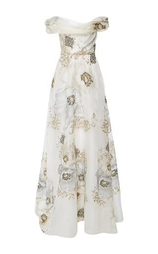 Medium marchesa ivory off the shoulder soft draped a line gown