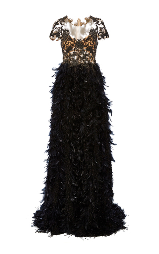 Medium marchesa black fringe feather a line gown