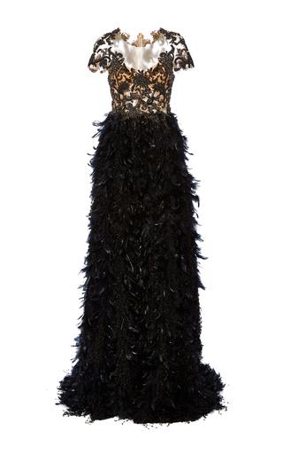 Medium marchesa black fringe feather a line gown