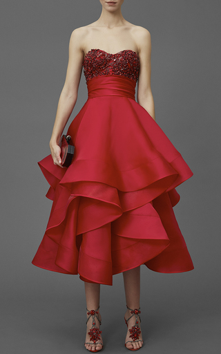 Medium marchesa red strapless satin faced organza tea length gown
