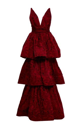 Medium marchesa red textured rose brocade tiered gown